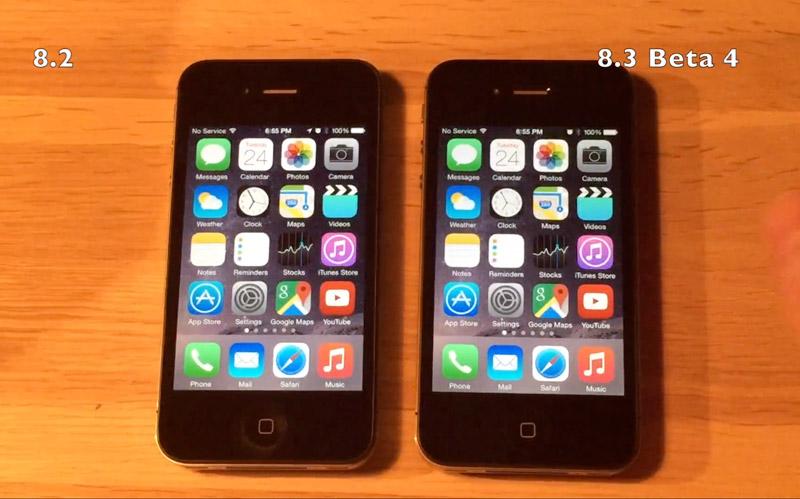 iPhone 4s на iOS 8.2 и iOS 8.3 beta 4