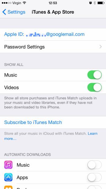 Настройки App Store и iTunes