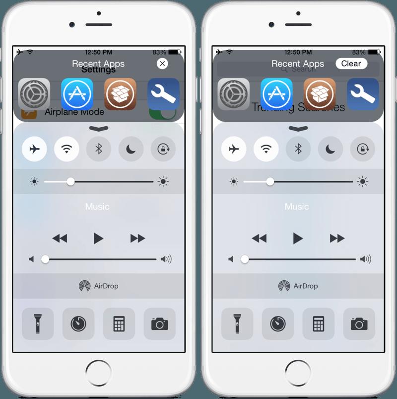 Пункт управления на iPhone 6