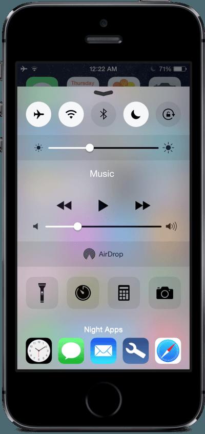 Пункт управления на iPhone