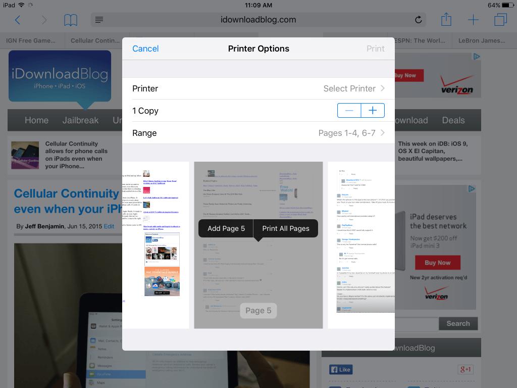 AirPrint в iOS 9