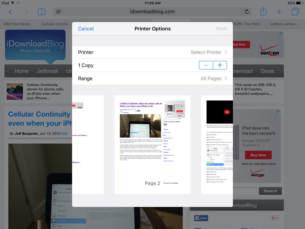 AirPrint на iOS 9