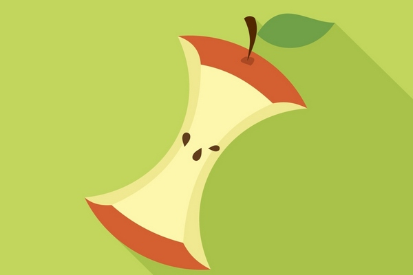 Apple Core in Flat style with shadow on green background.