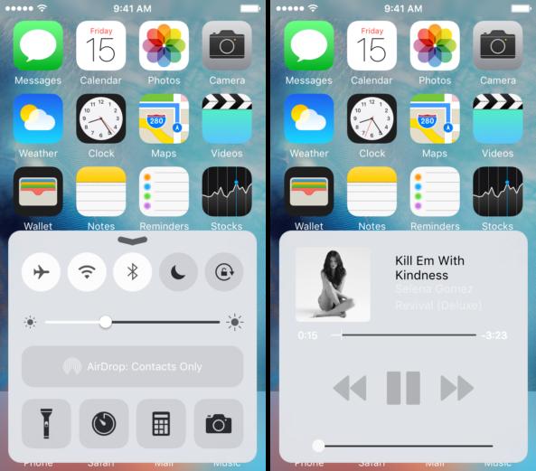 Пункт управления iOS 10