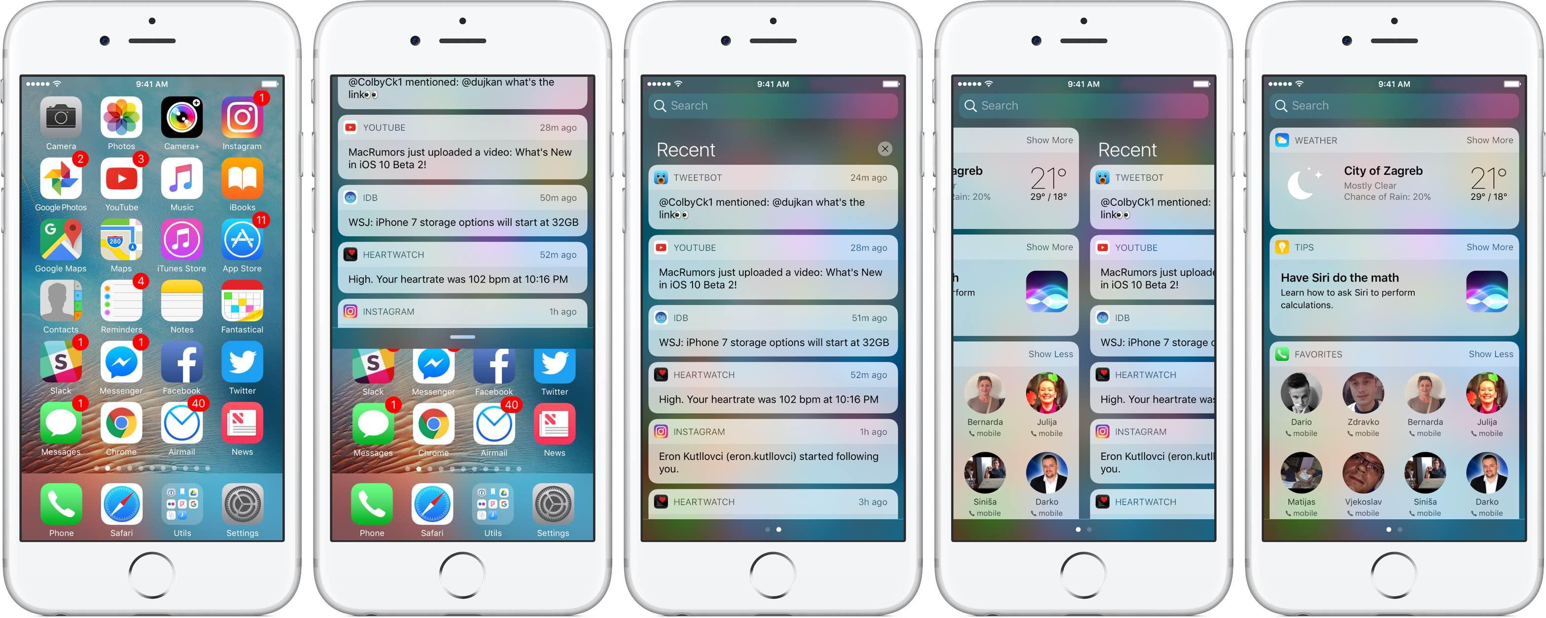 Центр уведомлений iOS 10