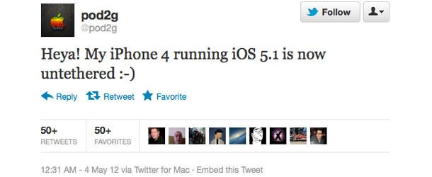 Хакер pod2g сделал непривязанный джейлбрейк iPhone 4 с iOS 5.1.
