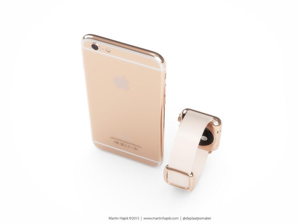 iPhone 6s и Apple Watch в розово-золотом цвете