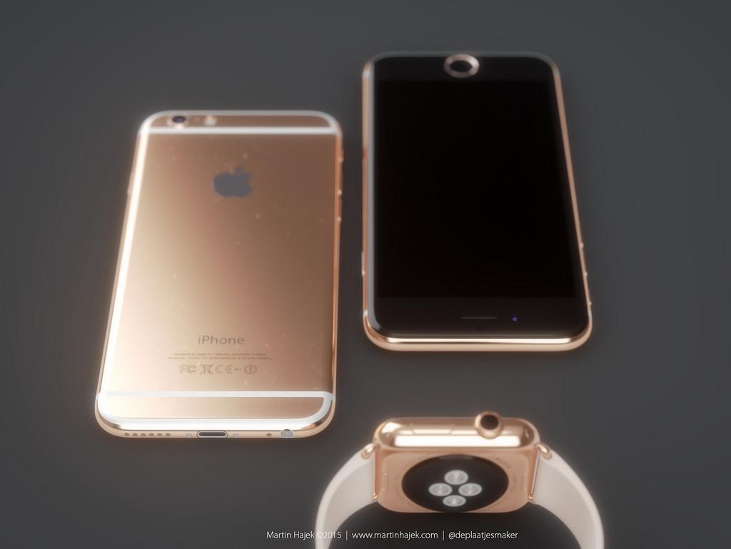 Золотой iPhone 6s и Apple Watch