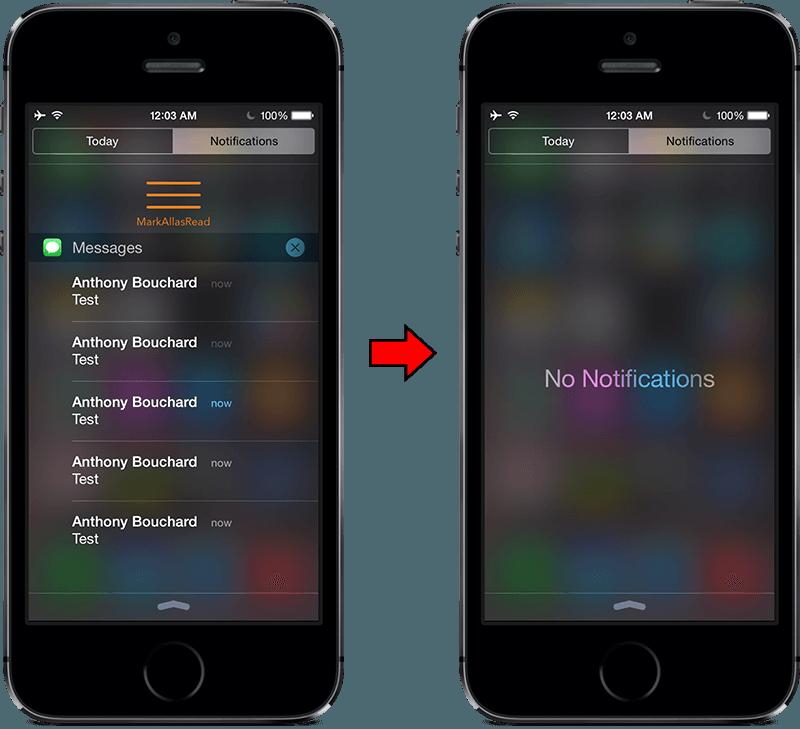 Очистка уведомлений на iOS 8