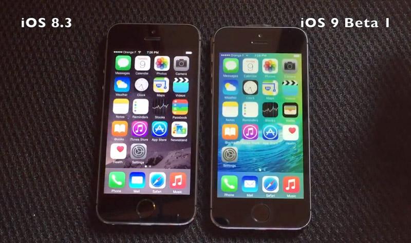 iPhone 5s на iOS 8.3 и iOS 9 beta 1
