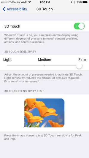 Настройки 3D Touch