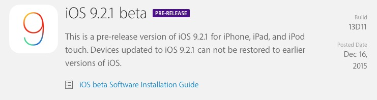 iOS 9.2.1 beta
