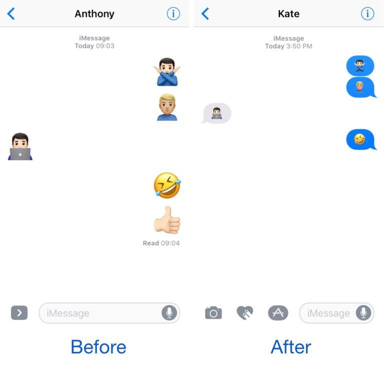 Как отключить большие смайлы в Сообщениях на iOS 10?