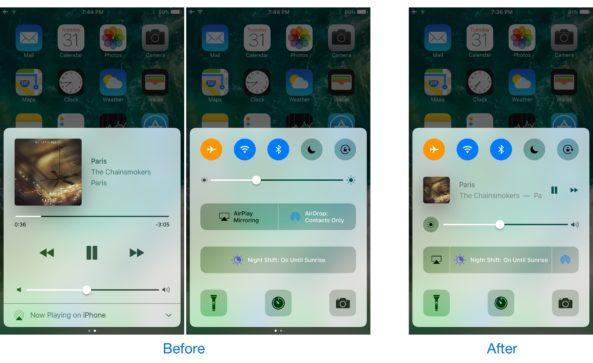Пункта управления на iOS 10: как объединить две страницы в одну